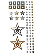 Spestyle Non Toxic And Waterproof Golden Gold & Silver & Black Metallic Temporary Tattoo Sticker Stars Design