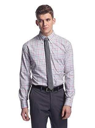 Oxxford Men's Sport Shirt with Button-Down Collar (Grey Multi)