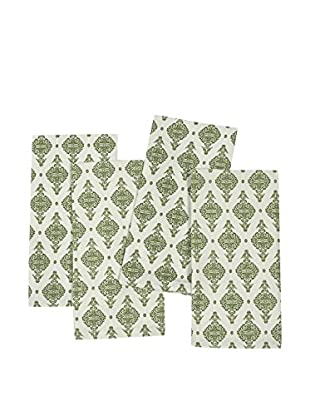 KAF Home Set of 4 India Print Napkins, Cactus Green