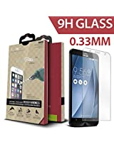 iCarez for ASUS Zenfone 2 [0.33 Tempered Glass] Highest Quality Premium Anti-Scratch Bubble-free Reduce Fingerprint Screen Protector Easy Install Product with Lifetime Replacement Warranty [1-Pack,0.33mm] - Retail Packaging 2015