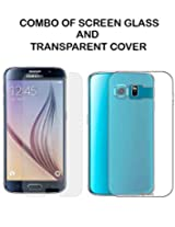 Value Combo Of HD Quality Tempered Glass and Soft Transparent Clear Back Case Cover For Samsung Galaxy S6
