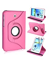 AE 360 Rotating PU Leather Stand Case For Samsung Galaxy Tab3 7.0 P3200 Light Pink