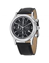 Grovana Chronograph Black Dial Black Leather Strap Men'S Watch - Gro1728-9537