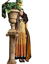 Anvi Creations Yellow Georgette Dress Material ( Yellow _Free Size)