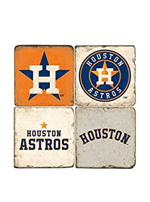 Studio Vertu Set of 4 Astros Logoed Tumbled Marble Coasters with Stand