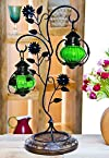 Onlineshoppee Gifting home décor beautiful candel holder table lamp green colour beautiful tabel lamp