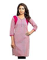 Almas Women's Cotton Regular Fit Kurti (ALM-KUR-100109_S, Pink, Small)