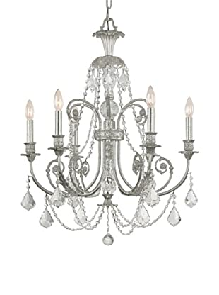 Gold Coast Lighting Wrought Iron Chandelier, Old Silver