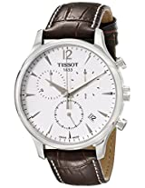 Tissot Mens T063.617.16.037.00 Stainless Steel Tradition Watch with Textured Leather Band