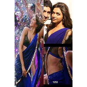 Deepika Bollywood Replica Blue Chiffon Designer Saree