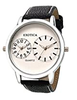 Exotica Analog White Dial Men's Watch (EF-55-Dual-LS-W)