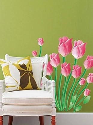 Ambience Live Vinilo Adhesivo Tulipanes De Color Rosa Multicolor