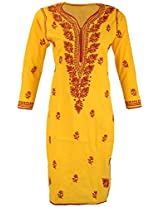 PR Chikans Women's Cotton Kurti (Yellow, Large)