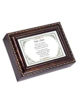 Dear Aunt Dark Burl Wood Finish with Gold Trim Jewelry Music Box - Plays Tune Pachelbels Canon in D