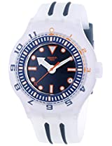 Swatch SUUK402 Voile Blanche Navy Date Dial White Silicone Band Unisex Watch