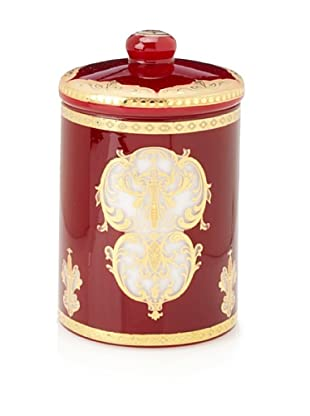 Opulent Red and Gold Design Glass Jar with Lid