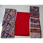 Red Kalamkari Cotton Dress Material With Dupatta