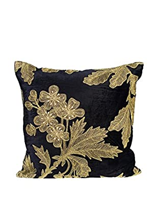 Cloud 9 Embroidered Velveteen Throw Pillow, Black/Gold
