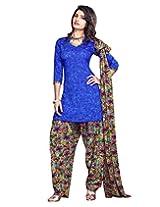 Jevi Prints Blue & Multicolor Art Crepe Dress Material with Dupatta