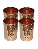 Set of 4, Copper Glass for Ayurvedic Health Benefits Drinkware Hammered Tumbler