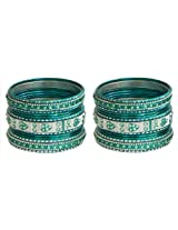 DollsofIndia Two Sets of Stone Studded Cyan with Silver Glitter Metal Bangles - Metal - Blue