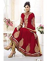 WhatshopMarron Designer Heavy Embroidered Anarkali Suit