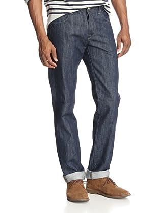 Agave Men's Nihilist Troubadour Slim Cut Straight Leg 5 Pocket Button Fly Jean (Indigo)