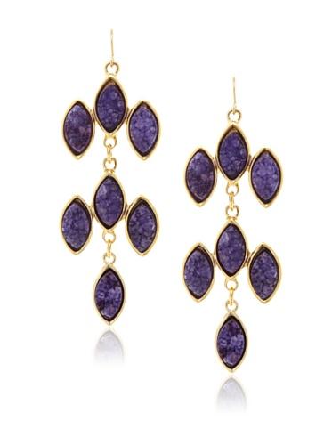 Kara Ross Purple Drusy Marquis Chandelier Earrings