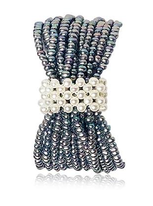 Alraune Armband Perlen Elastisch 12-reihig grau