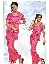 Indiatrendzs Women's Sexy Nighty Maroon 3pc Set Evening Wear Freesize