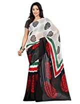 Admyrin Black and White Printed Saree with Georgette Blouse Piece