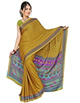 Chinco Saree With Blouse Piece (P1003-D_Yellow)