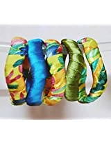 Hunar, multi colour plaatic bangles, set of 5, size-2.6