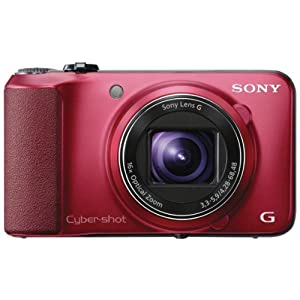 Sony Cyber-shot DSC-HX10V 18.2MP Point-and-Shoot Digital Camera (Red) with Camera Case