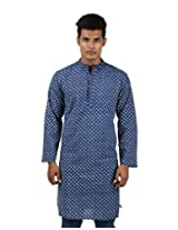 Ultimate Cotton Geometric Kurta Blue Printed XXX-Large For Men By Rajrang