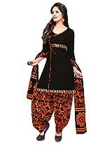 Jevi Prints Black Unstitched Cotton Punjabi Suit with Mangalgiri Border