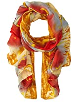 La Fiorentina Women's Abstract Floral Print Scarf with Swirls, Red Combo, One Size