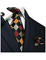 Landisun 458 Plaids Checks Mens Silk Tie Set: Tie+Hanky+Cufflinks Multi-Color, 3.25