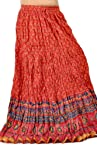 Little India Zari Border Red Blue Pure Cotton Long Skirt