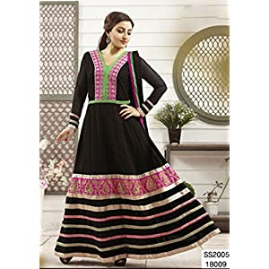 Semi Stitched New Art Collection Black and Orange Work Anarkali Suit