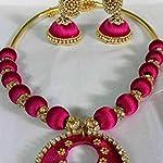 Dark pink necklace with jhumuka