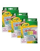 Crayola Whiteboard Dry Erase Neon Washable Erasable Crayons, Set of 24