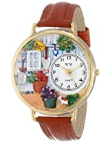 Whimsical Watches Women's G1210008 Gardening Brown Leather Watch