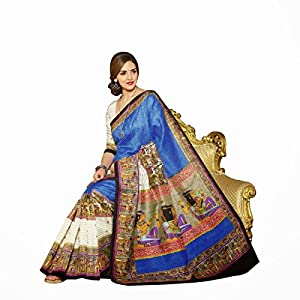 Esha Deol Bhagalpuri Silk Printed Blue Saree - 10958