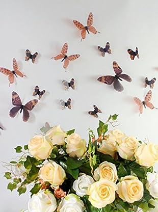 Ambiance Live Wandtattoo 18 tlg. Set 3D Adhesive Butterflies Chic translucid hellbraun