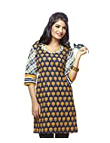 Karishma Suit - FREE Maybelline Colossal Kajal MRP 199 - s Blue-Yellow Floral Print Pure Cotton dobby Unstitched Kurti Fabric For Women | KDTKPG14