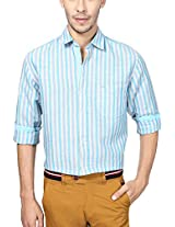 Peter England Men's Slim Fit Shirt (ESF31500250, Blue, 42)