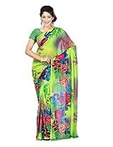 Chandra Silk Mills Brilliant Green Fancy Floral Printed Saree