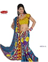 Triveni Colorful Printed Sari With Unstitch Blouse- 40014A