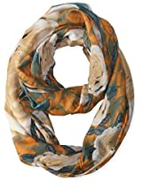 La Fiorentina Women's Floral Infinity Scarf, Brown/Gold, One Size